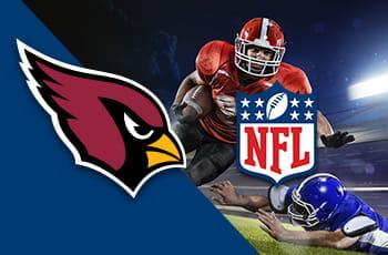 Un giocatore di football americano in azione e i loghi della NFL e degli Arizona Cardinals