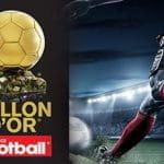 Un calciatore va al tiro e il logo di France Football, l'organizzatore del Pallone d'Oro