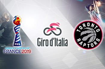 I loghi dei Mondiali di calcio femminili, del Giro d'Italia e dei Toronto Raptors