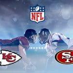 Il logo della NFL, il logo dei San Francisco 49ers e il logo Kansas City Chiefs e dei giocatori di football americano