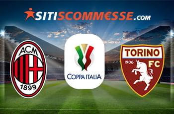 Uno stadio da calcio e i loghi di Milan, Torino e della Coppa Italia