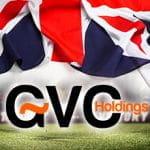 La bandiera del Regno Unito e il logo di GVC Holdings