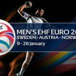 Il logo dei Campionati Europei di pallamano 2020 e un giocatore di pallamano generico