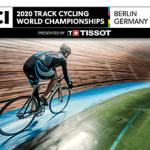 Il logo dei Mondiali di ciclismo su pista 2020 a Berlino e un pistard in azione