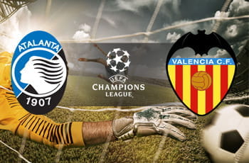 I loghi di Atalanta, Valencia e Champions League