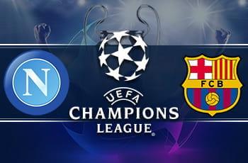 I loghi di Napoli, Barcellona e Champions League