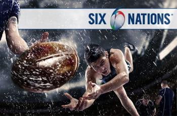 Il logo del Sei Nazioni e dei giocatori di rugby in azione