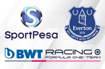 I loghi di SportPesa, Everton e Racing Point