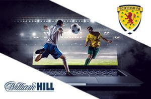 Il logo del bookmaker William Hill, il logo della Scottish Football Association e dei calciatori generici in azione