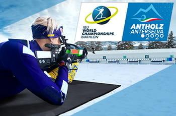 Il logo dei Mondiali di biathlon Anterselva 2020 e un biathleta al poligono