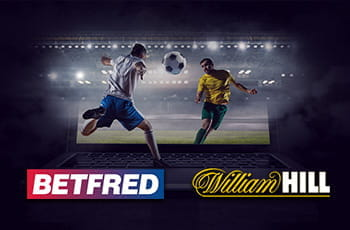 Il logo di Betfred, il logo di William Hill, dei calciatori generici in azione