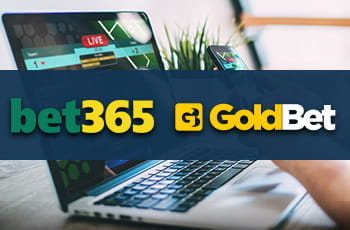 Un laptop e i loghi di bet365 e GoldBet