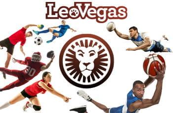 Atleti di diverse discipline sportive in azione e il logo di LeoVegas
