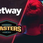 Un giocatore di eSports e i loghi di Betway e del Dreamhack Masters Spring 2020