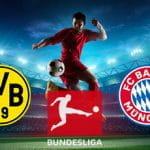 Un calciatore in azione e i loghi di Borussia Dortmund, Bundesliga e Bayern Monaco