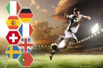 Un calciatore in azione e le bandiere di Italia, Germania, Spagna, Francia, Svizzera, Regno Unito, Svezia e Portogallo