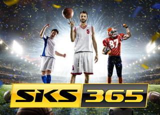 Un calciatore, un cestista e un giocatore di football americano con il logo di SKS365