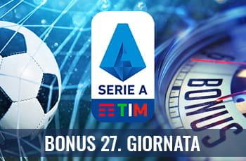 Un pallone da calcio, il logo della Serie A e la scritta Bonus 27. giornata
