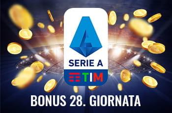 """Il logo della Serie A 2029-2020, dei gettoni d'oro e la scritta """"Bonus 28. giornata"""""""
