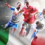 Giocatori di calcio generici e la bandiera italiana