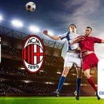 Calciatori in azione e i loghi di Juventus, Milan e Coppa Italia