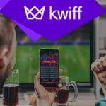 Appassionati di scommesse davanti a un laptop e a uno smartphone e il logo di Kwiff