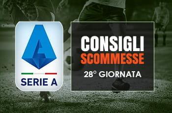 Il logo della Serie A, calciatori in azione e la scritta Consigli scommesse 28° giornata