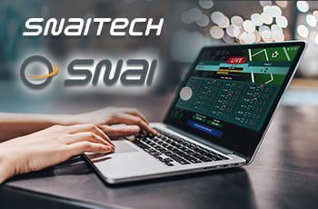 Un laptop e i loghi di SNAI e Snaitech