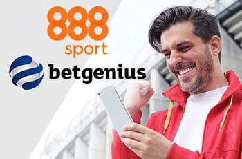 I loghi di 888sport e Betgenius e un ragazzo che consulta uno smartphone