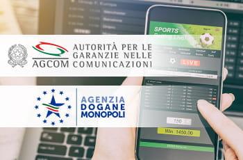 I loghi di AGCOM, ADM e uno smartphone e un laptop connessi al sito di un bookmaker