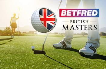 Giocatori di golf in azione e i loghi di Betfred e del British Master