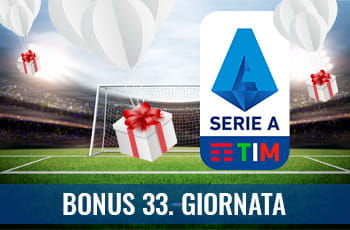 """Il logo della Serie A 2029-2020, dei pacchetti regalo su un campo da calcio e la scritta """"Bonus 33. giornata"""""""