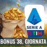 """Il logo della Serie A 2029-2020, delle monete d'oro su un campo da calcio e la scritta """"Bonus 38. giornata"""""""