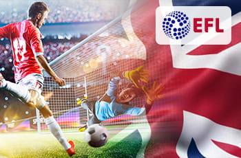 Il logo della EFL, un calciatore e la bandiera del Regno Unito