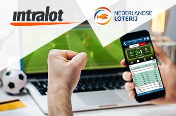 I loghi di Intralot, della Lotteria di stato olandese e un laptop e uno smartphone