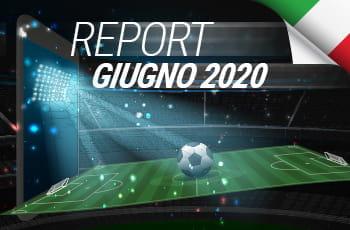 """Uno stadio durante una partita di calcio e la scritta """"Report giugno 2020"""""""