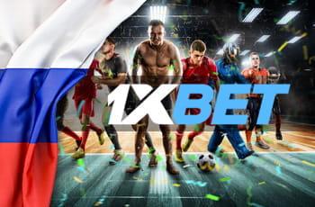 Il logo di 1XBET, la bandiera russa e dei giocatori di calcio