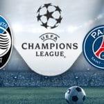 I loghi di Atalanta, Paris Saint-Germain e Champions League
