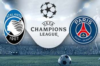 I loghi di Atalanta, Paris Saint-Germain e Champions League