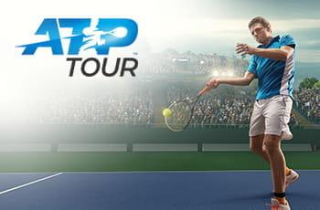 Il logo dell'ATP Tour e un tennista in azione