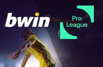 Il logo della Pro League Belgio, il logo di bwin e un calciatore generico