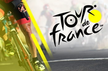 Il logo del Tour de France e le gambe di un ciclista