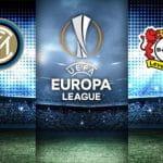 I loghi di Inter, Bayer Leverkusen ed Europa League