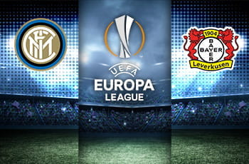 I loghi di Inter, Bayer Leverkusen ed Europa League