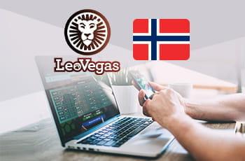 Il logo di LeoVegas, la bandiera della Norvegia e un ragazzo di fronte a un laptop con uno smartphone