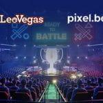 I loghi di LeoVegas e Pixel.bet e una arena di eSport