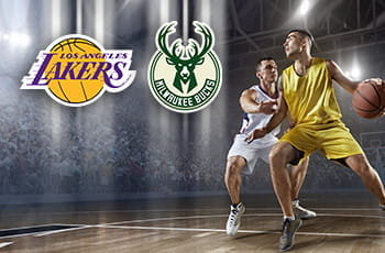 I loghi di Los Angeles Lakers, Milwaukee Bucks e giocatori di basket in azione