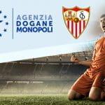 I loghi dell'Agenzia Dogane e Monopoli e del Siviglia, e un calciatore che esulta dopo un gol