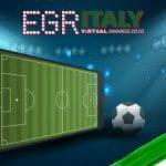 Il logo degli EGR Italy Awards e un campo da calcio con un pallone