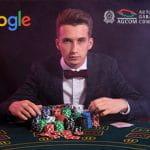 I loghi di Google, di AGCOM e un croupier con delle fiche